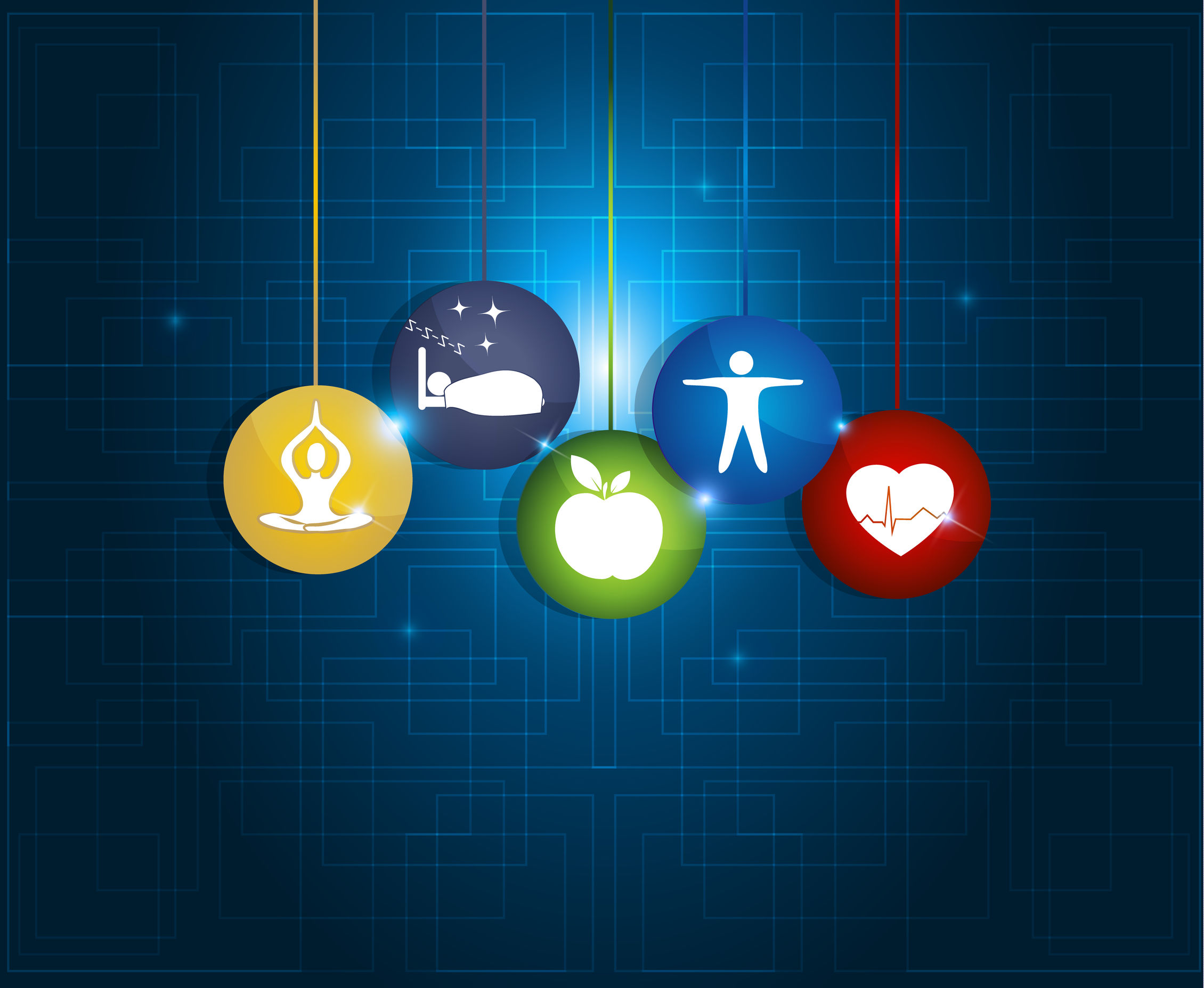 Healthy living round symbols. Healthy food, fitness, no stress and healthy weight leads to healthy heart and life.