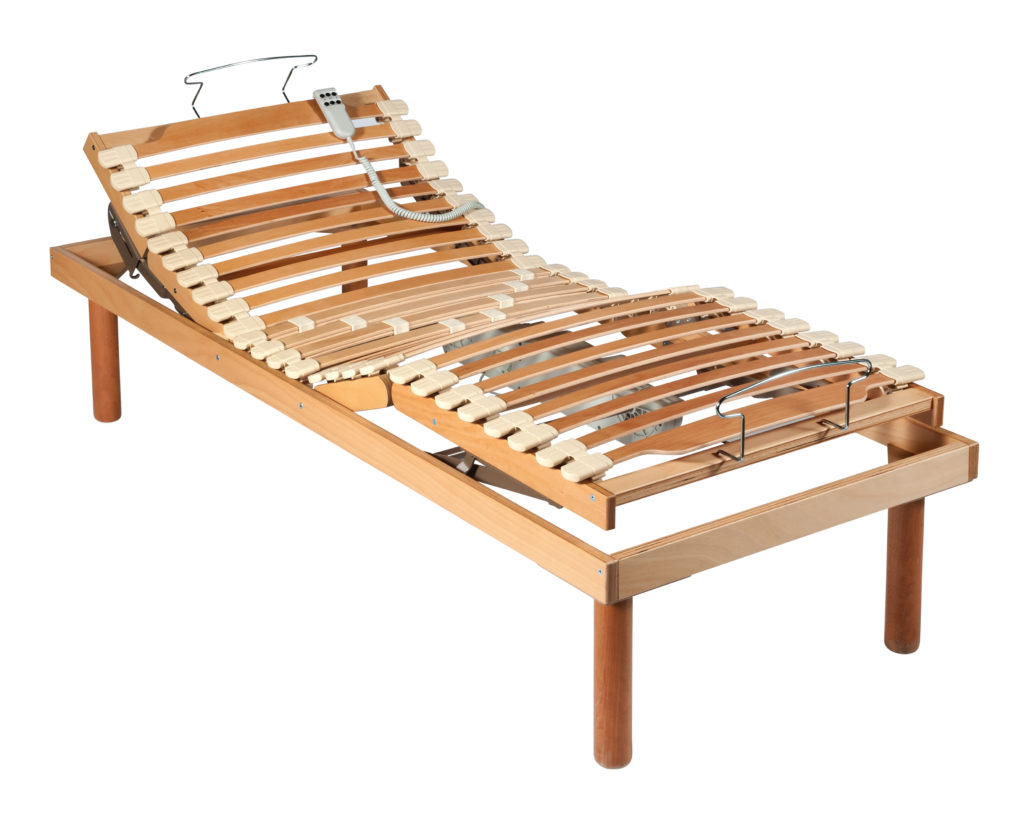 Single wooden orthopaedic bed with net and shock absorbers and electric adjustment mechanism isolated on white